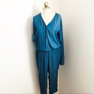 Mohito Denim long sleeve jumpsuit button front